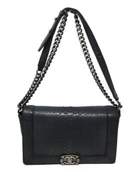 Chanel Black Python Shoulder Handbag 1