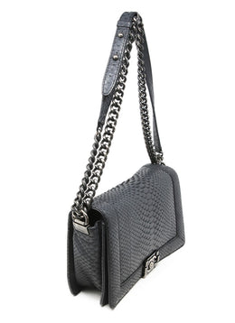 Chanel Black Python Shoulder Handbag 2