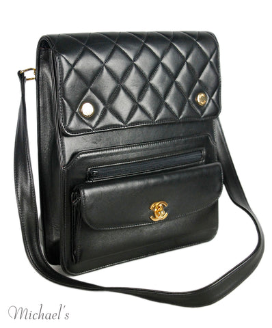 Chanel Black Black Quilted Leather Handbag