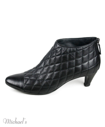 Chanel Black Quilted Leather Booties Sz 40