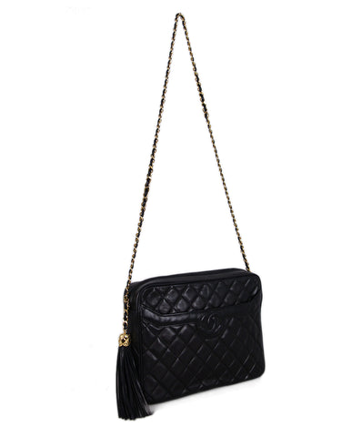 Chanel Black Quilted Leather Vintage Bag 1