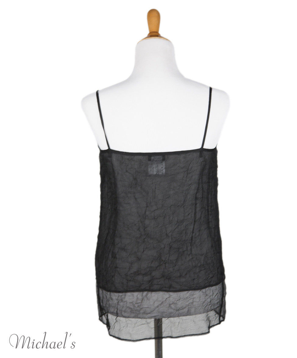 Chanel Black Sheer Crinkled Silk Tank Top Sz 38 - Michael's Consignment NYC  - 3