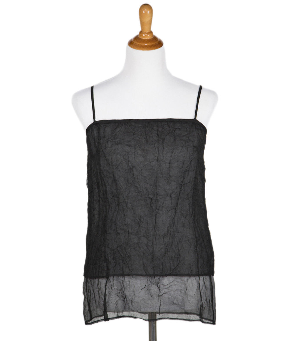 Chanel Black Sheer Crinkled Silk Tank Top Sz 38 - Michael's Consignment NYC  - 1
