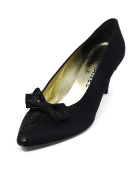 Chanel Black Satin Sequins Bow Vintage Shoes Sz 39.5