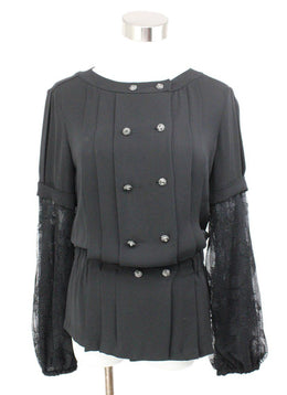 Chanel Black Silk Lace Longsleeve Top 1