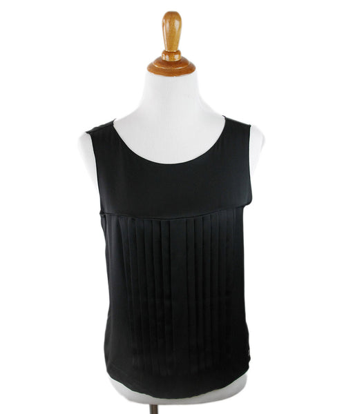 Chanel Black Silk Pleated Trim Top Sz 8