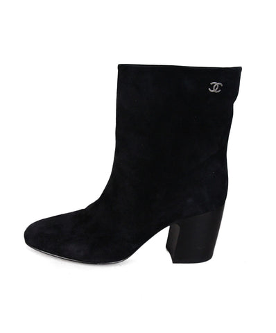 Chanel Black Suede Booties 1