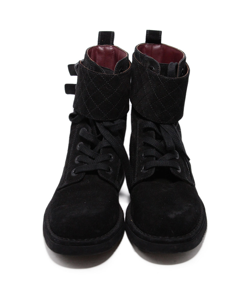 Chanel Black Suede Boots 4