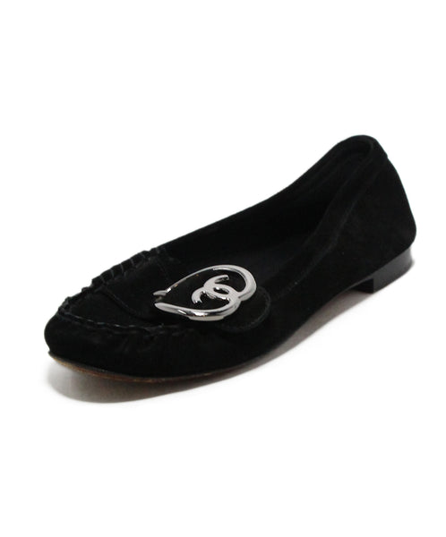 Chanel Black Suede Buckle Flats 1