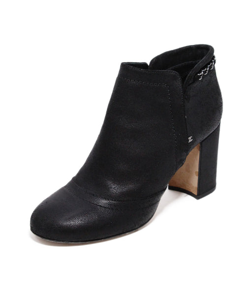Chanel Black Suede Chain Trim Booties 1
