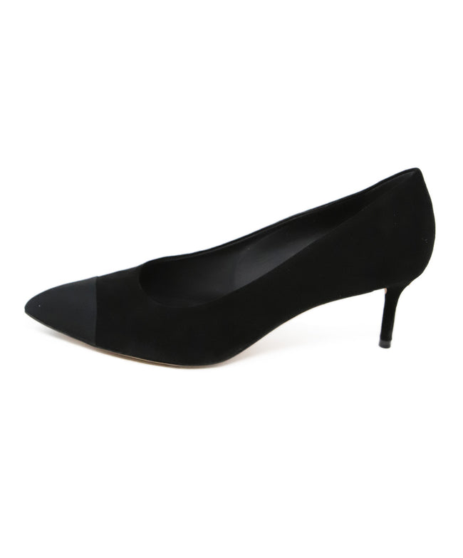 Chanel Black Suede Grosgrain detail Kitten Heels Size 2