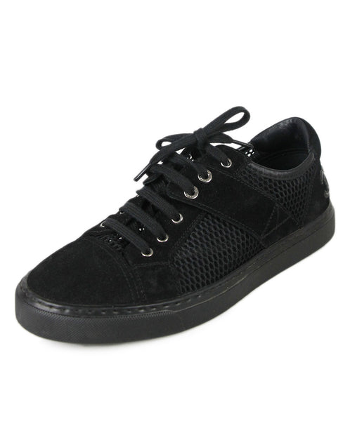 Chanel Black Suede Perforated Sneakers Sz 38