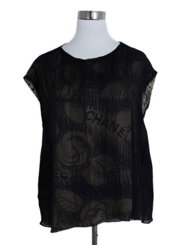 Chanel Black Tan Silk Print Blouse 1