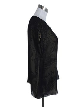 Chanel Black Tan Silk Print Blouse 2