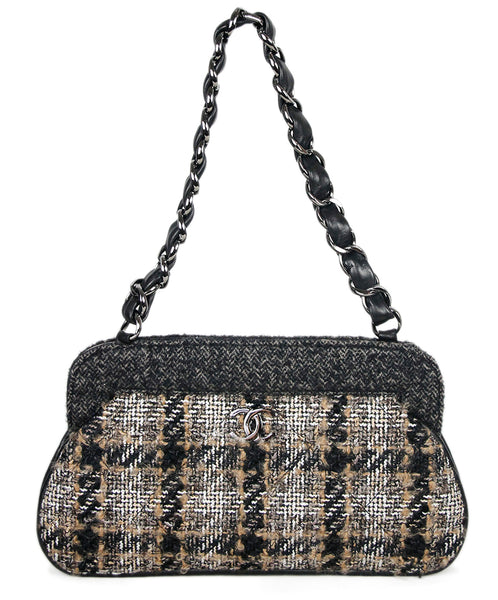 Chanel Black Tan Tweed Wool Handbag