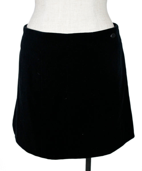 Chanel Black Velvet Skirt Sz 40