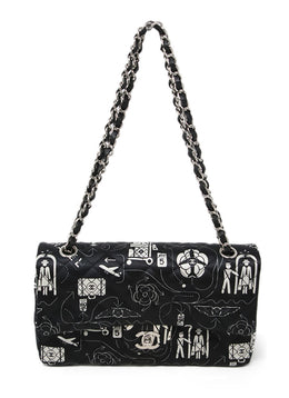 Shoulder Bag Silver Hardware Turn lock Chanel Black Print Nylon Handbag 1