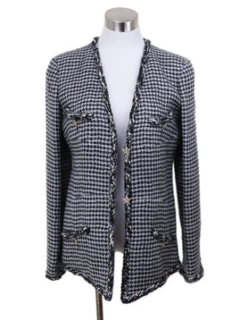 Chanel Black White Mohair Star Trim Jacket Sz 8