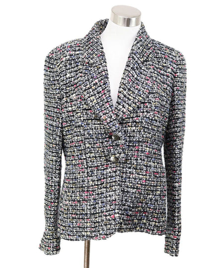 Chanel Blue White Pink Large Plaid Weave Jacket Size 4