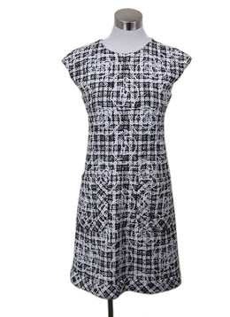 Chanel Black White Polyester Cotton Tweed Dress Sz 12