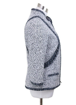 Chanel Size 4 Black White Tweed Silk Trim Jacket