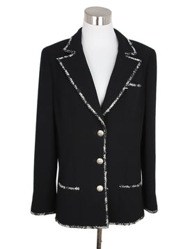 Chanel Black White Wool Tweed Trim Jacket 1