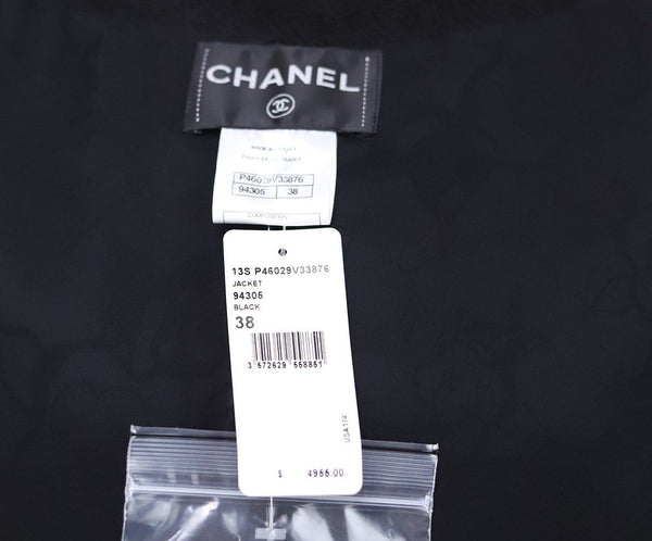Chanel Black Wool Cotton Leather Trim Jacket Sz 6