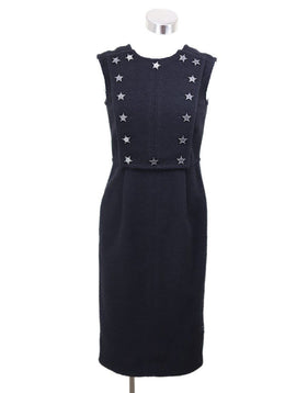 Chanel Black Wool Polyester Star Buttons Dress Sz 2