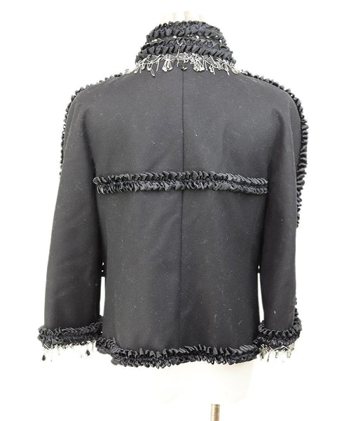 Chanel Black Wool Ribbon Trim Crystal Metal Trim Jacket 3