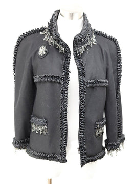 Chanel Black Wool Ribbon Trim Crystal Metal Trim Jacket 1