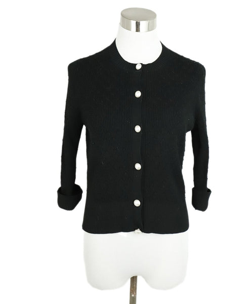Chanel Black Cotton Ivory Pearl Buttons Cardigan Sweater 1