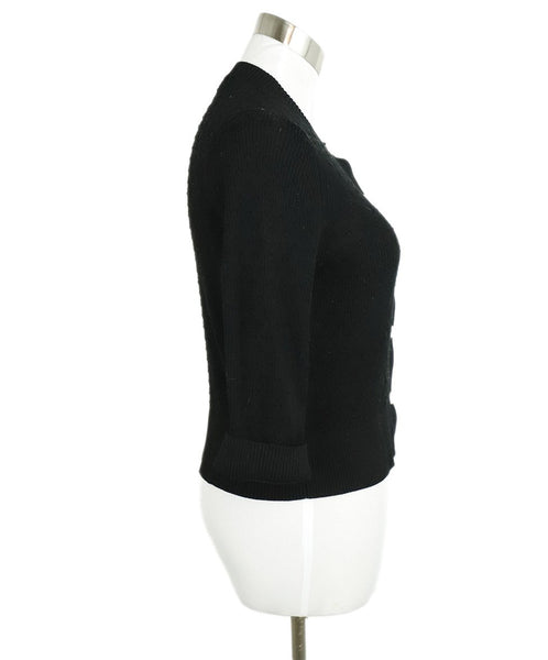 Chanel Black Cotton Ivory Pearl Buttons Cardigan Sweater 2