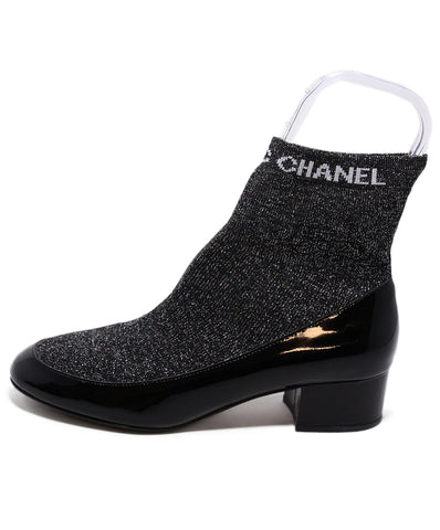 Chanel Black metallic Patent Leather Knit booties 2