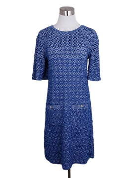 Chanel Blue Cornflower Lurex Silk Nylon Dress 1