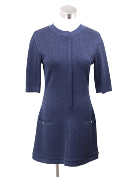 Chanel Navy Cotton Silk Zipper Dress