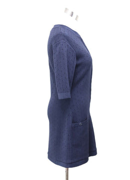 Chanel Navy Cotton Silk Zipper Dress 1