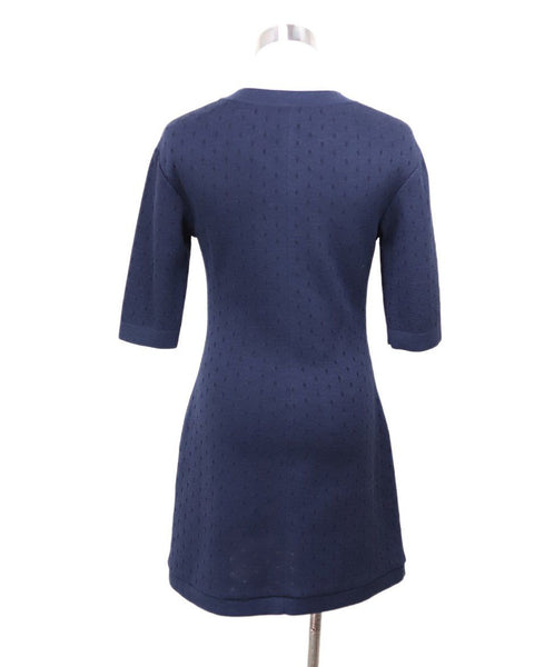 Chanel Navy Cotton Silk Zipper Dress Sz 0