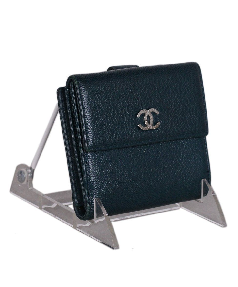 Chanel Blue Green Leather Wallet 2