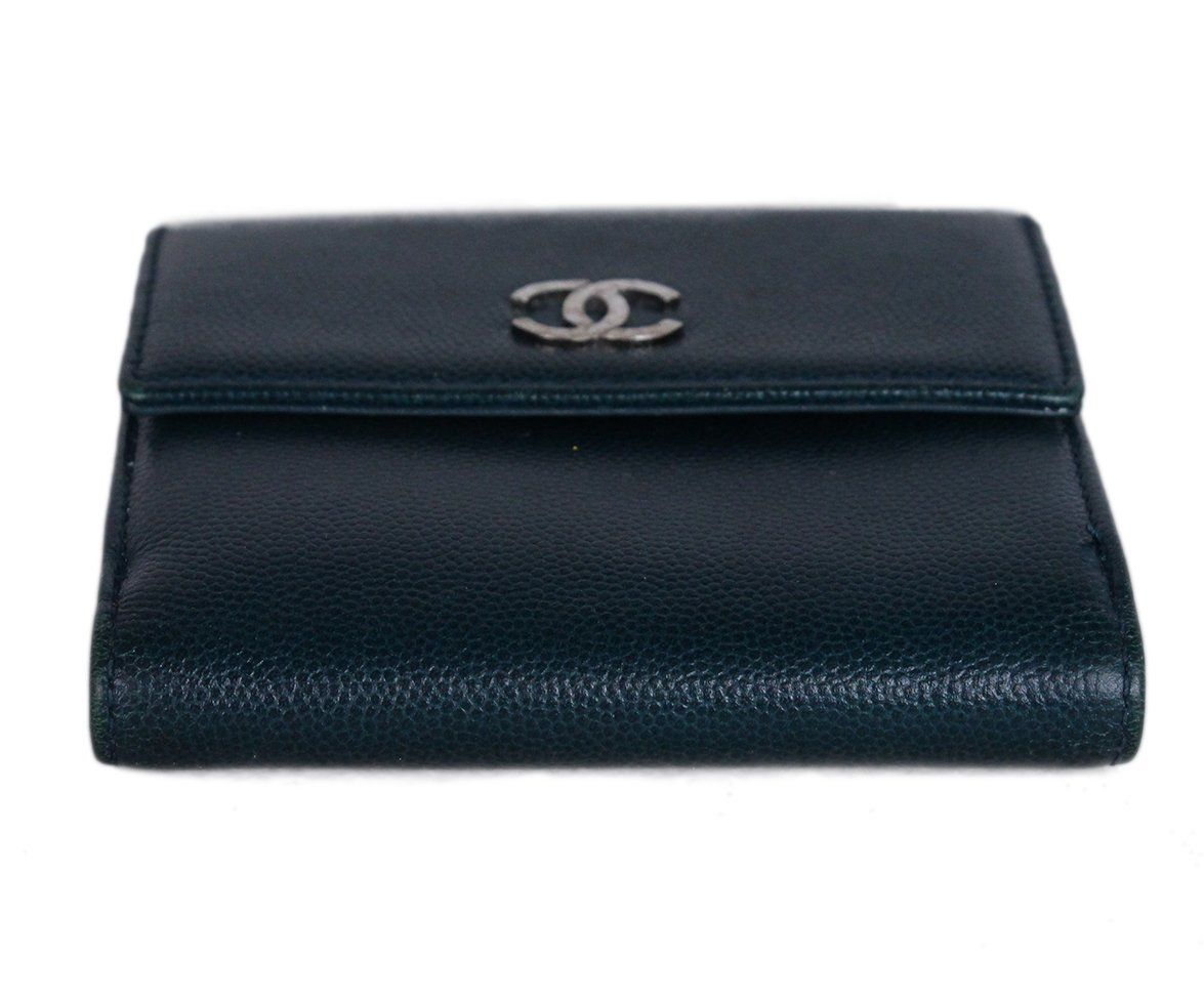 Chanel Blue Green Leather Wallet 4
