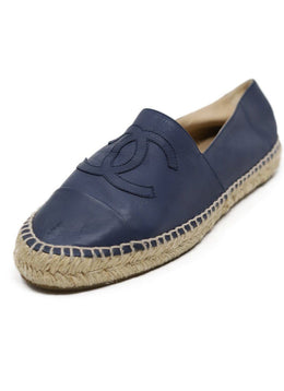 Chanel Blue Leather Espadrilles