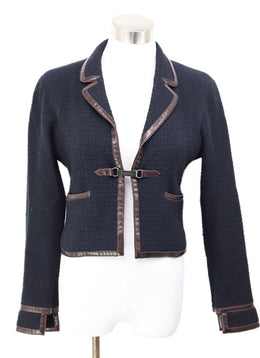 Chanel Blue Navy Brown Leather Trim Jacket 1