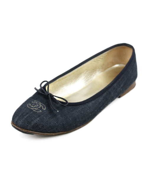 Chanel Blue Navy Denim Shoes