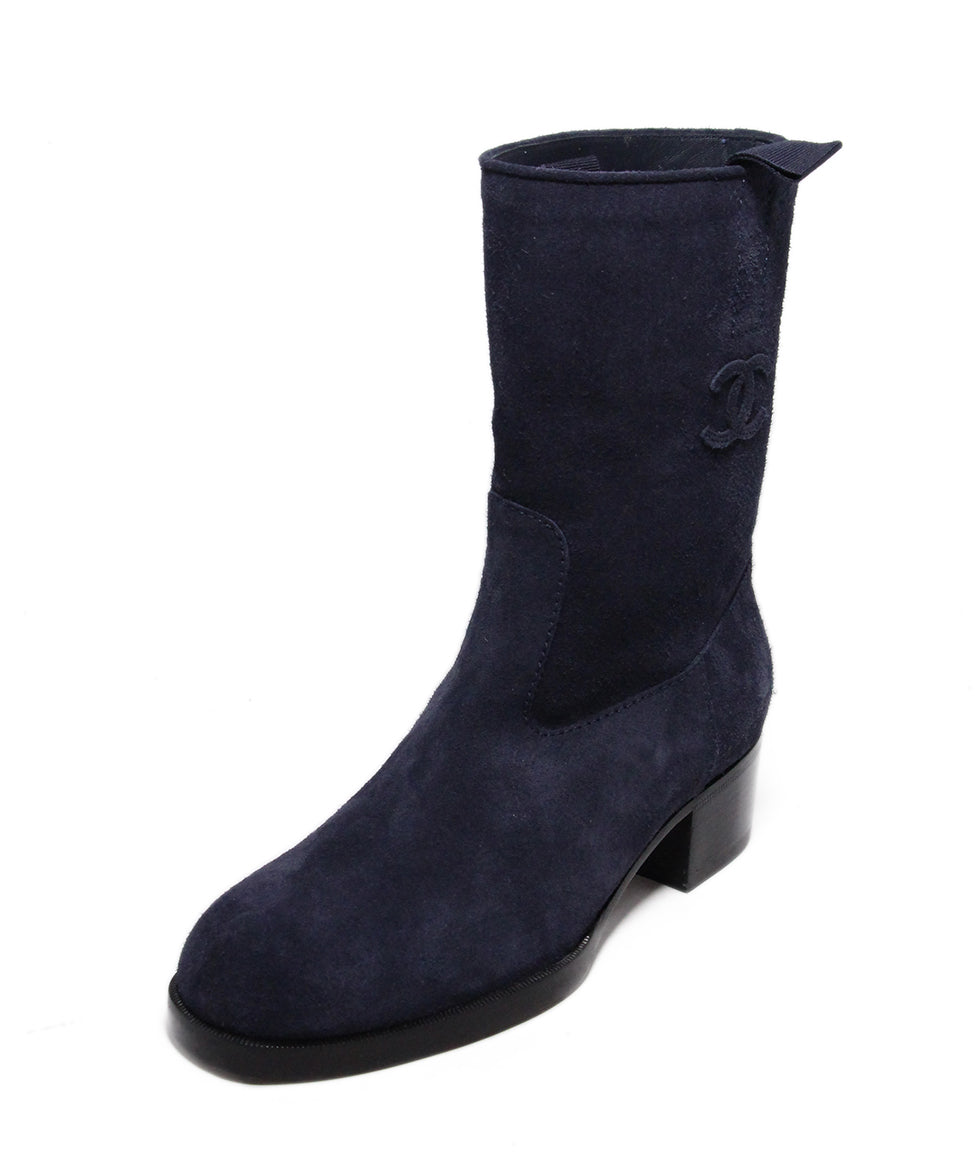 Chanel Blue Navy Suede Boots 1