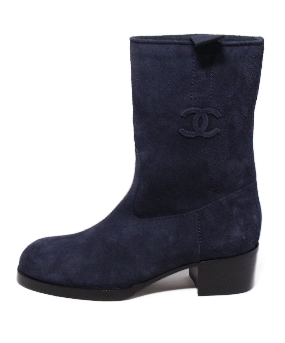 Chanel Blue Navy Suede Boots 2