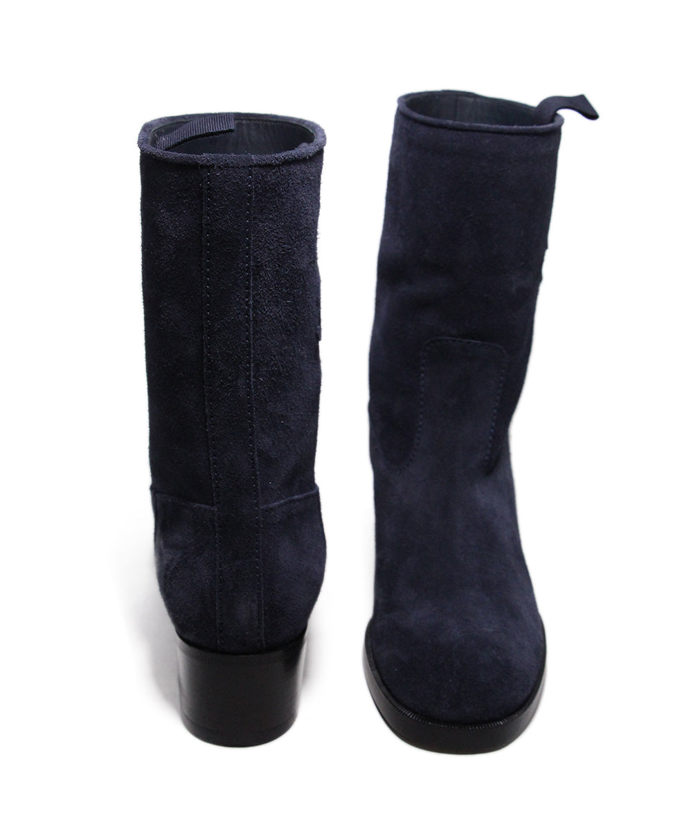 Chanel Blue Navy Suede Boots 3