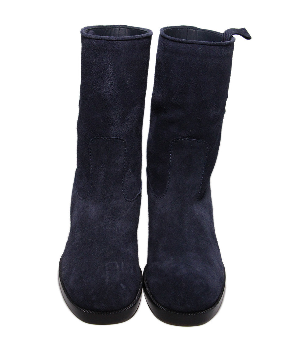 Chanel Blue Navy Suede Boots 4