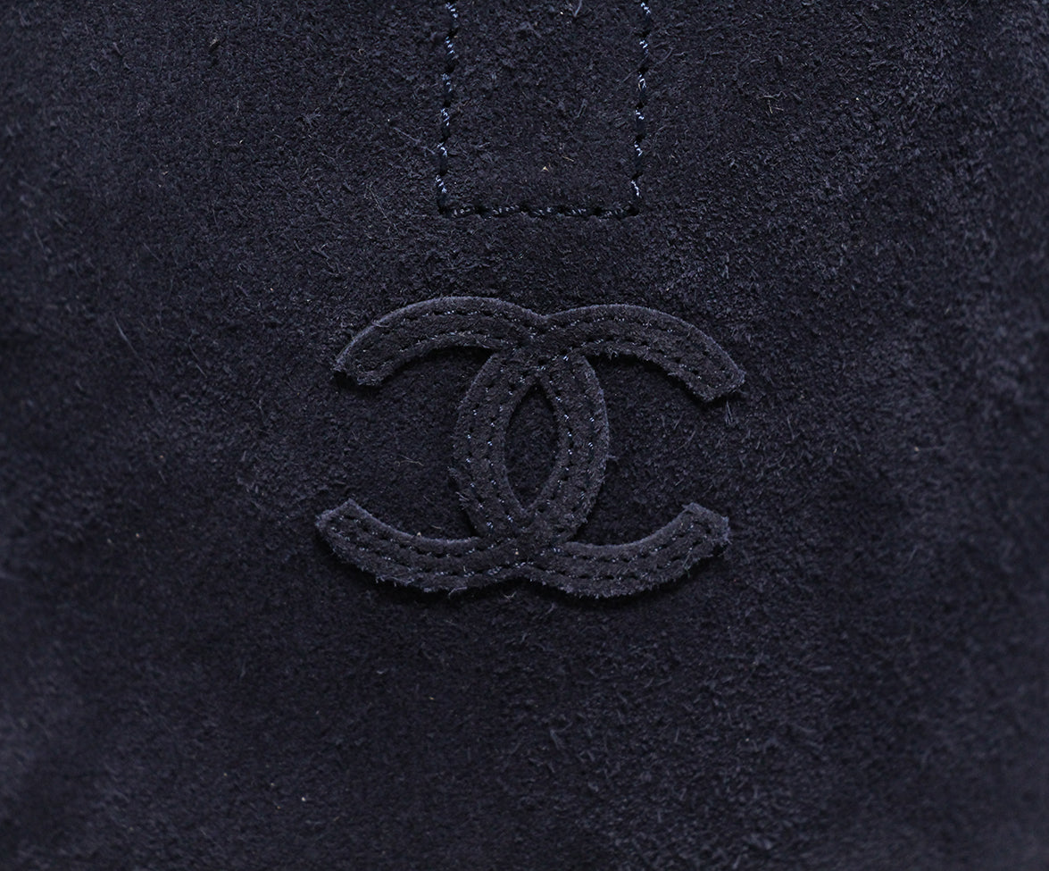 Chanel Blue Navy Suede Boots 8