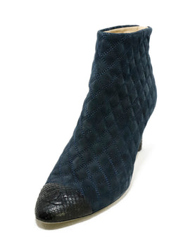 Chanel Blue Navy Quilted Suede Black Python Trim Booties 1