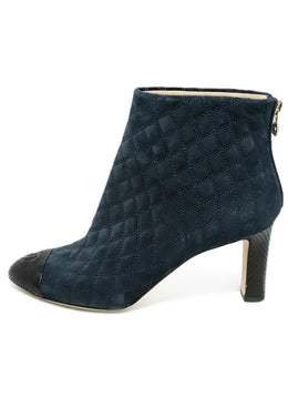 Chanel Blue Navy Quilted Suede Black Python Trim Booties 2