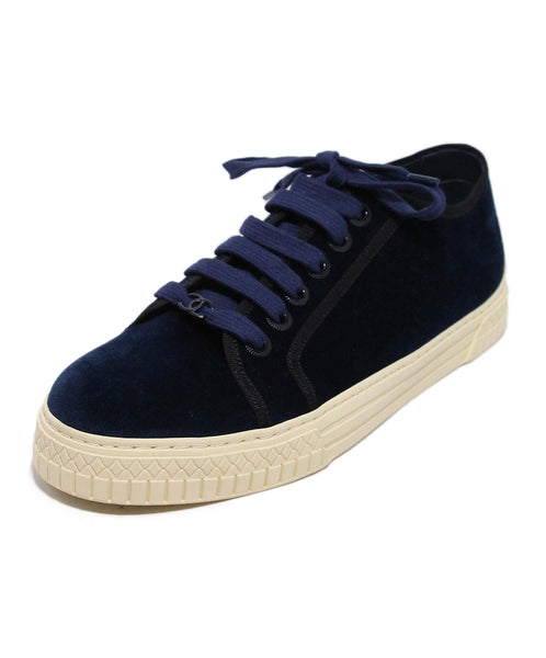 Chanel Blue Navy Velour Sneakers 1